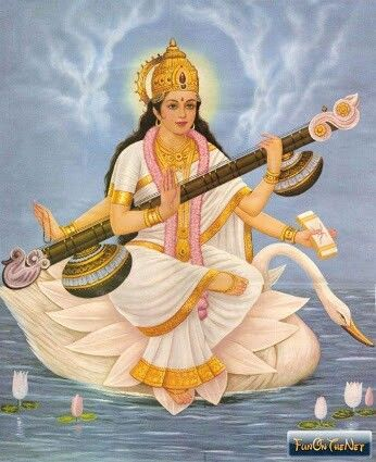 Saraswati, Goddess of music with swan.