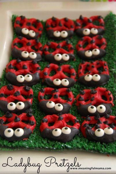 Ladybug pretzels! Cute for a birthday snack.