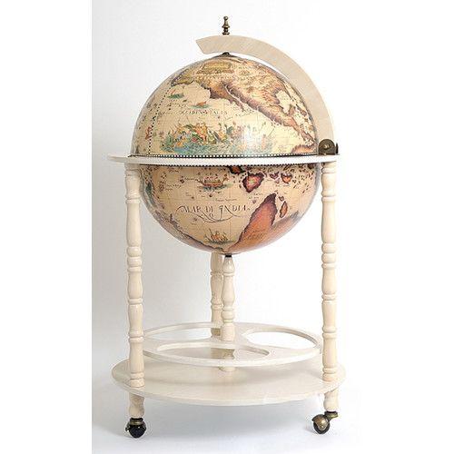 Old Modern Handicrafts Globe Drinks Cabinet Floor Stand-White