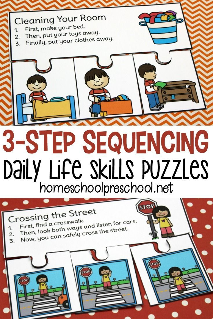 Daily life step sequencing puzzles for preschoolers