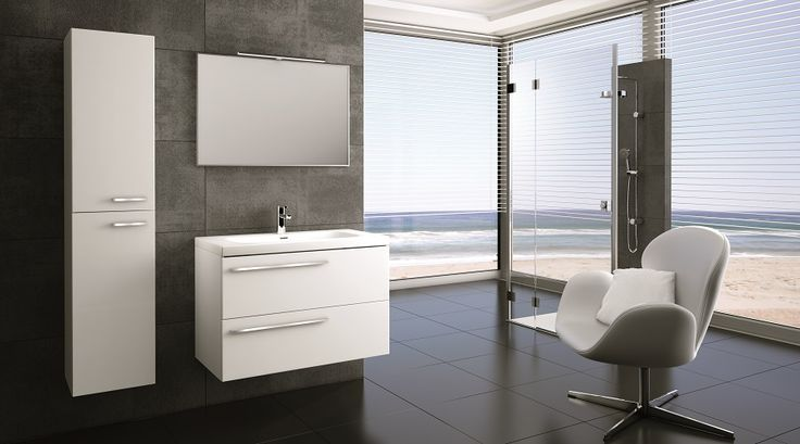 Marsylia 90 2S white z umywalką ceramiczną Iwa • Marsylia 90 2S white with ceramic washbasin Iwa.  #elita #meble #lazienka #marsylia #bathroom #furniture