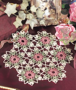 """Treasured Bouquet, part of Crochet World's FREE Doily of the Month. Get the download here: http://www.crochet-world.com/doily.php?id=12 """"Like"""" the Crochet World Facebook page so you don't miss a single monthly installment: https://www.facebook.com/CrochetWorldMag"""