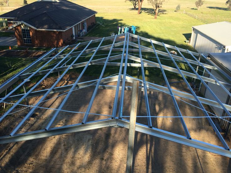 Ultraspan custom carport for SB Smash Repair. Aerial view of the frame 12m X 12m. Built by Kieren Lee Plumbing & Construction 0428690696