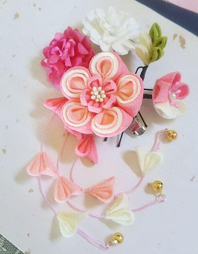 かみ飾り2wayクリップ(桃の花)9点セット