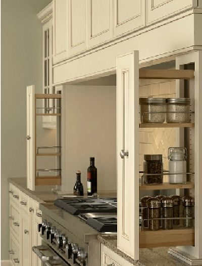 Storage With Pull Outs On Either Side Of Stove