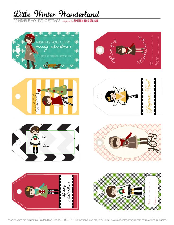 Free printable little girl Christmas tags...cut idea for the gifts Maddie gives to her friends at school.