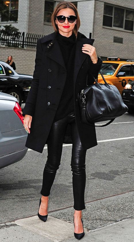 MIranda Kerr. Need the leather pants and trench