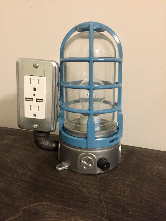 The BOSS Mariner: Industrial USB lamp - table lamp - desk lamp - pipe lamp - cage fixture - steampunk lamp