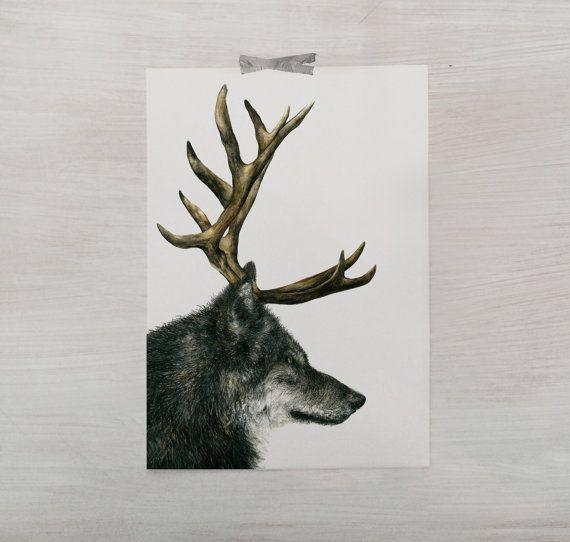 SALE // Sebastian // Hybrid Wolf Print // Stag by BecciMaryanne