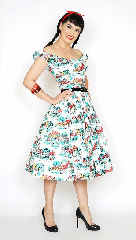 Jodi in Home Sweet Home print #1950s-pin-up #50s-pin-up #bernie-dexter #pin-up-dress #pinup #pinup-dress #rockabilly #vintage-dress #wholesale