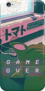 '90S ANIME CAT GAME OVER VAPERWAVE GRUNGE PIXEL KAWAII' iPhone Case by Poppy Smith