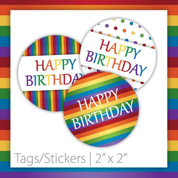 Rainbow Birthday Tags . Circle  Rainbow by BlackCherryPrintable