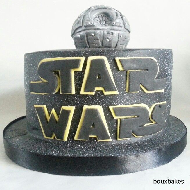 Star Wars cake topped with edible death star