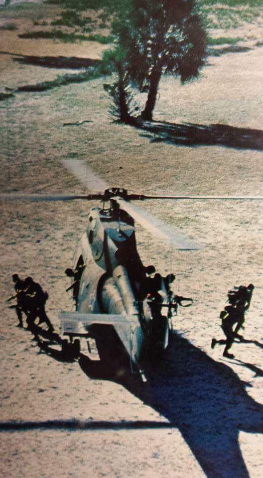 Troepe verlaat 'n  Puma helikopter.
