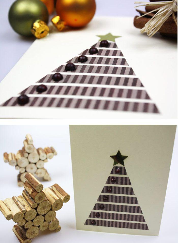 weihnachtskarten basteln aus papierstreifen und holzperlen. Black Bedroom Furniture Sets. Home Design Ideas