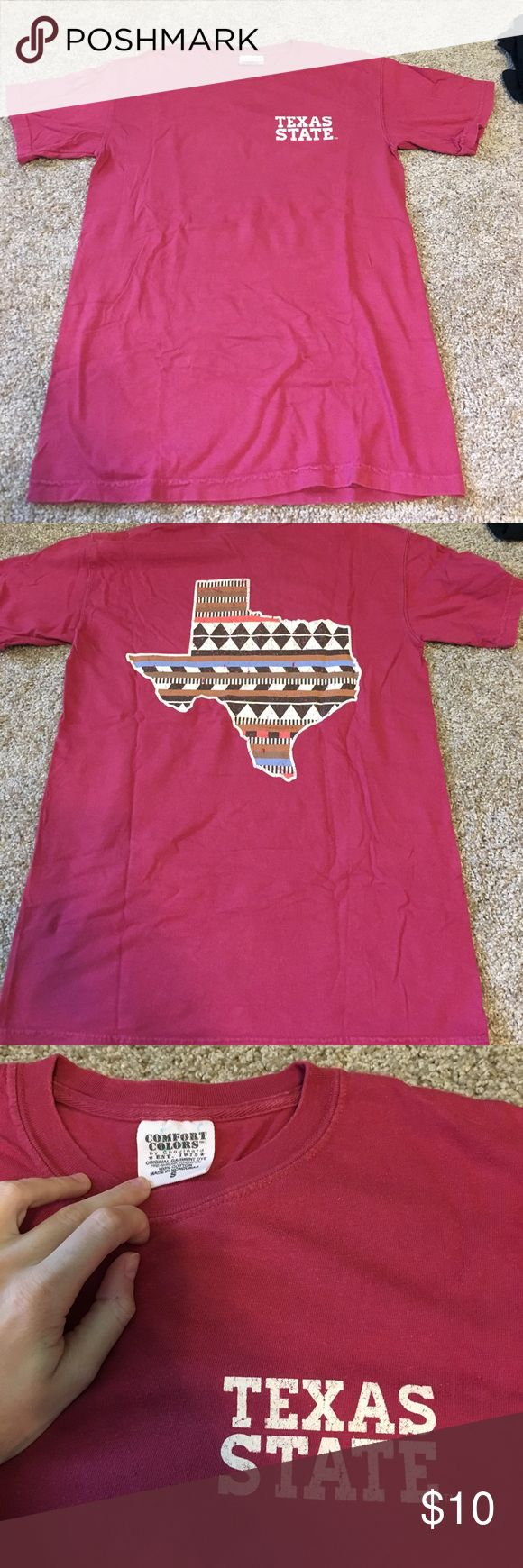 red TXST t shirt red texas state university t shirt, texas design is the back, comfort colors sizs S, very soft! comfort colors Tops Tees - Short Sleeve