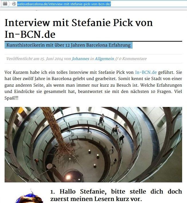Interview mit welovebarcelona.de auf www.in-BCN.de