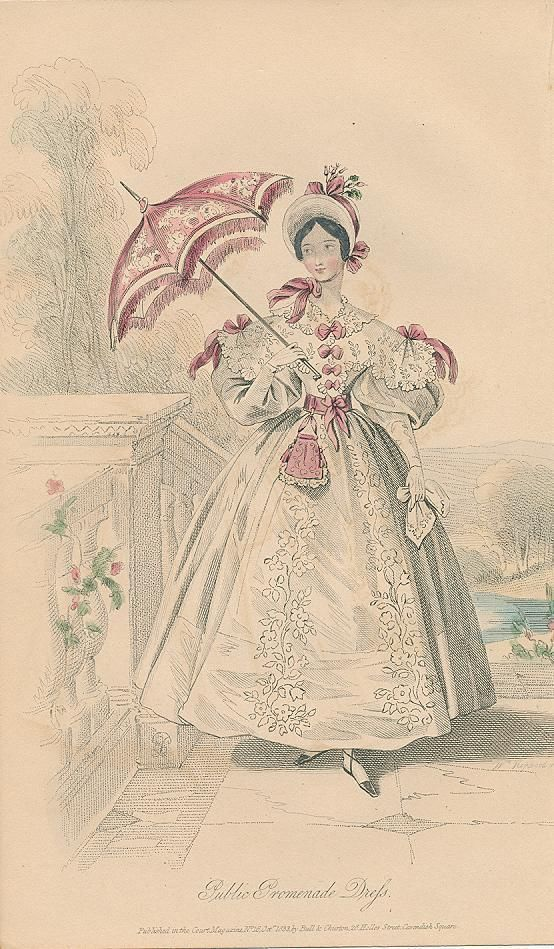 Promenade dress & parasol 1833