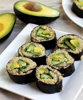 THIS IS SO SMART! Quinoa is more healthy than white/sticky rice!! . Quinoa Avocado, Cucumer, and Spinach Sushi:   Get the recipe here: www.KristaAbel.com