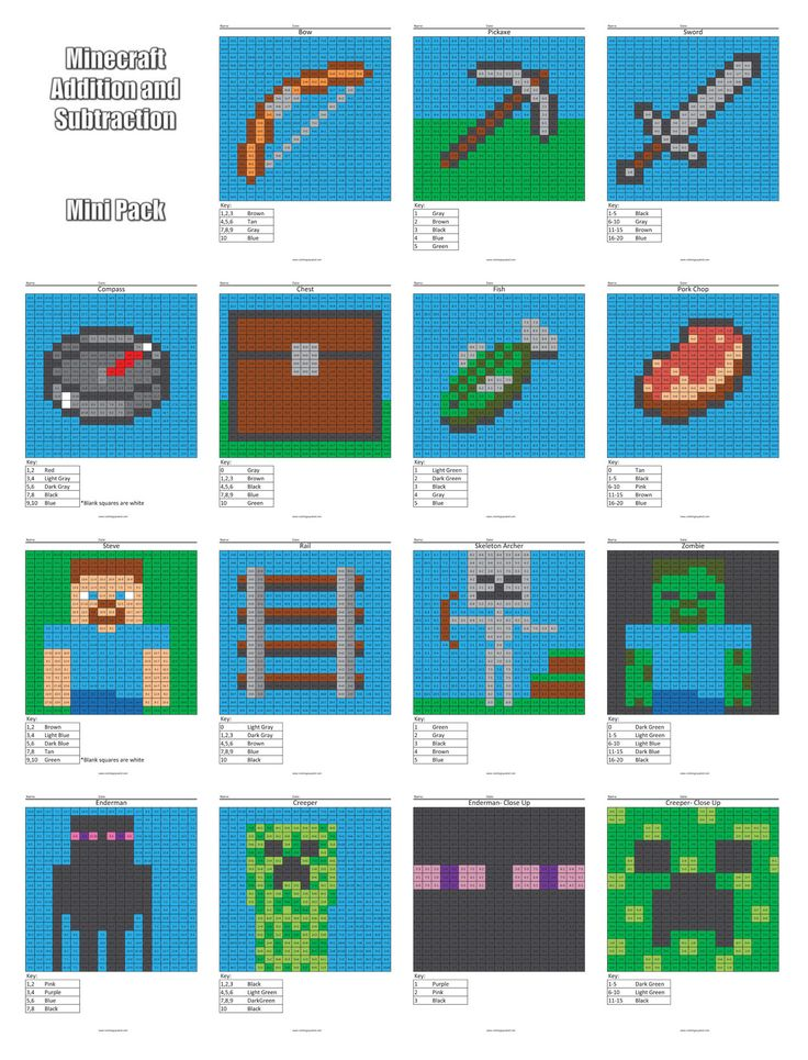 Coloring Squared would like for you to enjoy these free Minecraft addition and subtraction coloring pages. There are 40 different pixel puzzles ranging from a Creeper to an Ender Dragon to Notch himself. Enjoy the content! To use a page,…Read more ›