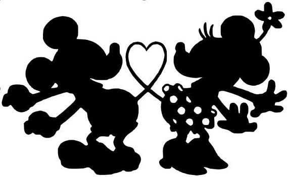 image about Minnie Mouse Silhouette Printable titled SVG, disney, centre mickey and minnie, kissing mickey and