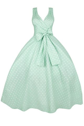 Marnie Mint Polka Dot Vintage Style Swing Dress | Clarence and Alabama