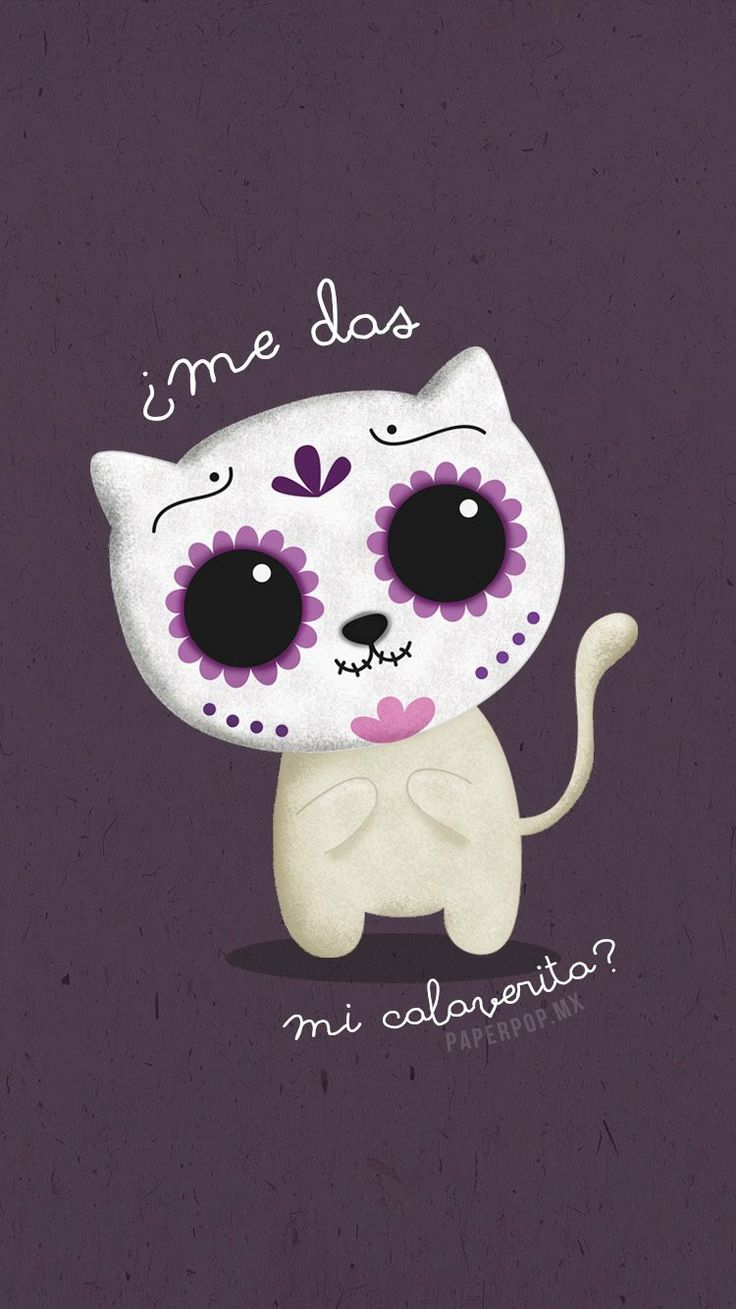 Day of the dead Animal Wallpaper, Iphone Wallpaper, Phone Backgrounds, Day Of The Dead Artwork, Sugar Skull Art, Sugar Skulls, Kawaii, Halloween Wallpaper, Cat Design