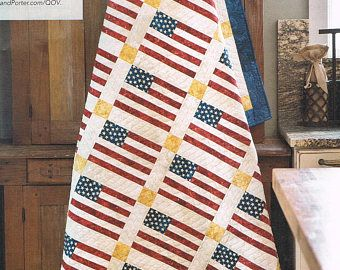 QUILT PATTERN - American Flag Quilt Sewing Pattern - Modern Quilt Pattern - Patriotic Quilt - Pieced Quilt - Not A PDF