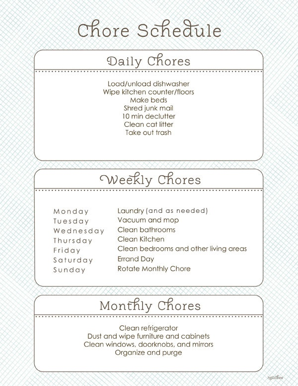 Daily/Weekly/Monthly Chore Schedule so I don't end up trying to clean everything in one day