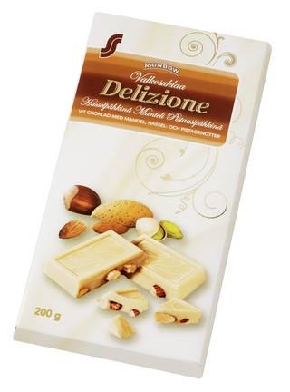 Rainbow : Rainbow Delizione hasselpähkinä-manteli-pistaasipähkinä valkoinen suklaa 200 g