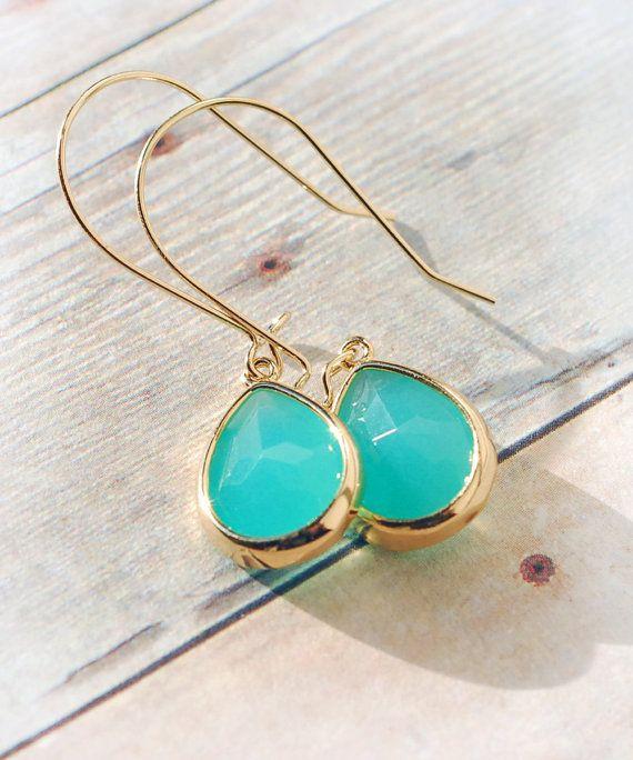 Turquoise Earrings Dangle Earrings Jewelry by LimonBijoux
