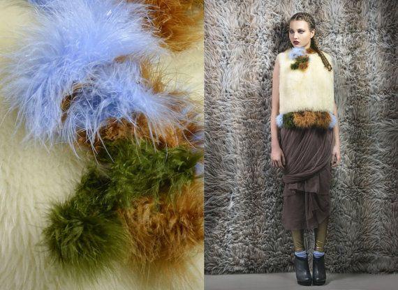 Lamb fur vest off white moss green rust blue by  NATI100%PUREIDEA