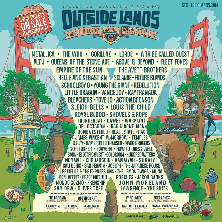 The @outsidelands lineup for 2017 is now posted!!! So many AMAZING artists.  #outsidelands #music #festival #sanfrancisco #goldengatepark #sfo #sanfran #osl2017 || http://bts4.la/insta