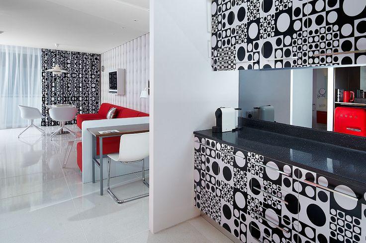 Red studio, Luna2 studiotel, Bali. Interior design by Melanie Hall. #interiordesign #melaniehalldesign