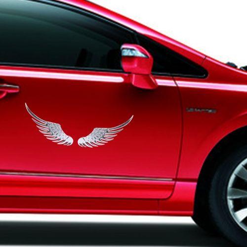[$2.02] 3D Angel Wing Metal Sticker Decal Auto Car Emblem Decal Decoration Color…