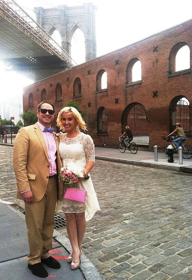 City Hall Wedding in Brooklyn, NY  ;): Beautiful Cities, 51 Beautiful, Dresses Details, Pink Vintage, Wedding Dresses, Cities Hall Wedding, Pop Of Color, Vintage Bags, Bags Add