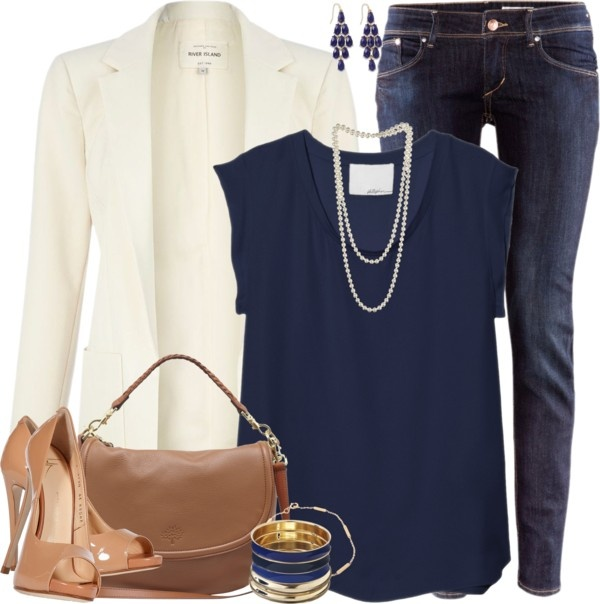 """navy and pearls"" by xhannahxmx ❤ liked on Polyvore Swap put the jeans for dress pants and it's a super cute work outfit!"