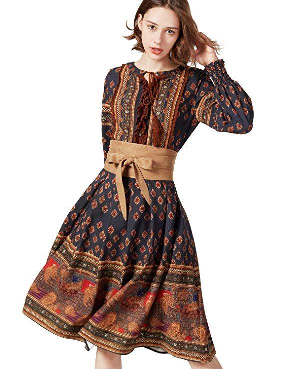 89e00ece2d1 Artka Women's Vintage Ethnic Style Print Long Sleeve A-Line Midi Dress with  Tassels (Large)