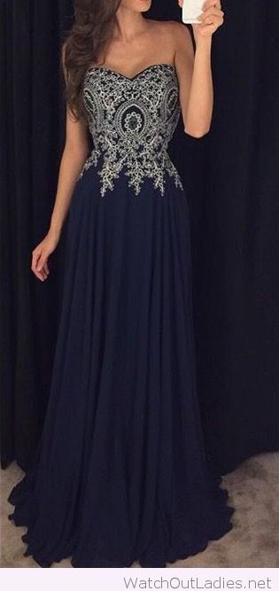Long navy dress with lace details