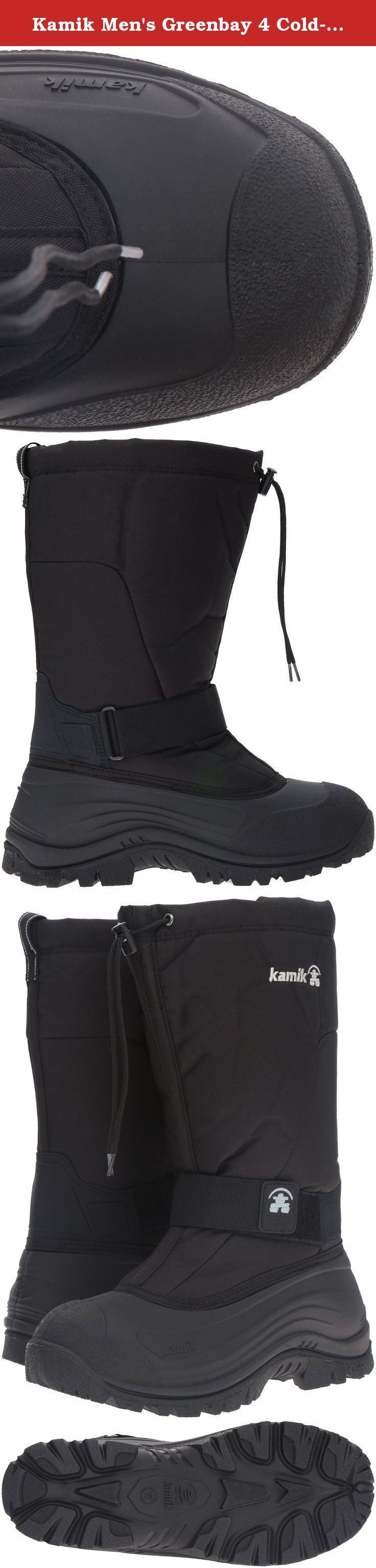 """Kamik Men's Greenbay 4 Cold-Weather Boot. Kamik Pac Boots for the whole family. Water resistant, warm and built to last. Kamik: an Inuit word meaning """"foot covering."""" Kamik Boots Company has operated over 100 years and, much like the Inuit, they know a thing or two about staying warm in the deep freeze. Waterproof, flexible Duration 600 nylon uppers; Lace lock snow collar; Self-cleaning PULSE Rubber HE outsole; Removable Thermal Guard moisture-wicking lining; Rear pull-on loop; Rated to…"""