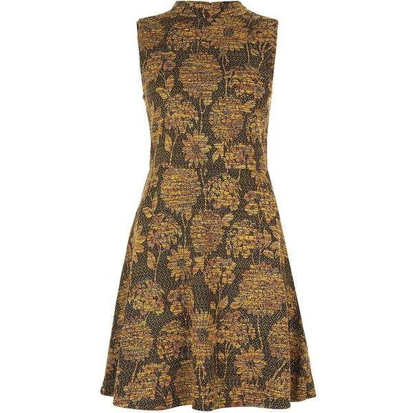 Orange Sunflower Jacquard Skater Dress (£20) ❤ liked on Polyvore featuring dresses, sunflower dress, brown vintage dress, sleeveless dress, high neck skater dress and skater dress