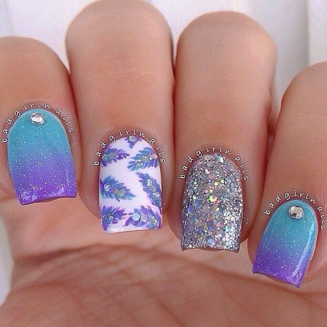 Feather Nail Art. Blue Ombre Nails. Manicures and Gel Nails Kelowna