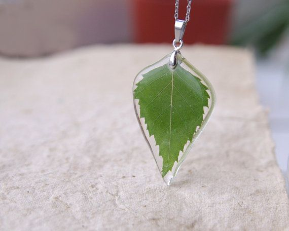 Birch Leaf Necklace - Green real leaf necklace - Leaf in crystal resin pendant Betula pendula