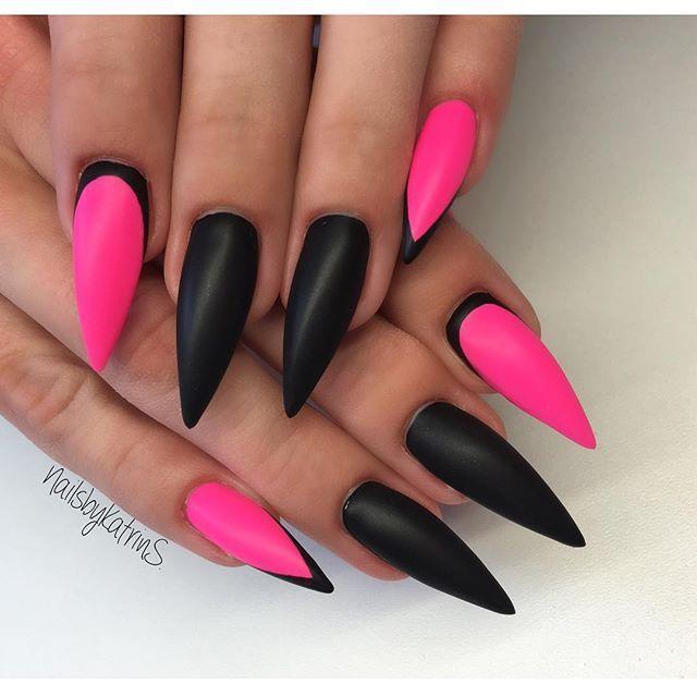 Neon pink, black stiletto nail art