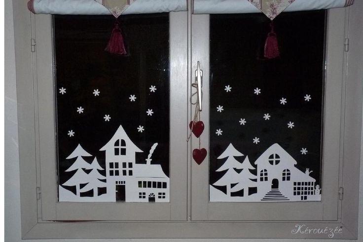 La maison se prépare pour Noël. Pour la fenêtre du salon, j'ai voulu m'essayer au papier découpé. Après avoir admiré sur internet de magnifiques découpages, je me suis lancée ! Une feuille de papier canson, un crayon, une gomme, des ciseaux et un cutter,...