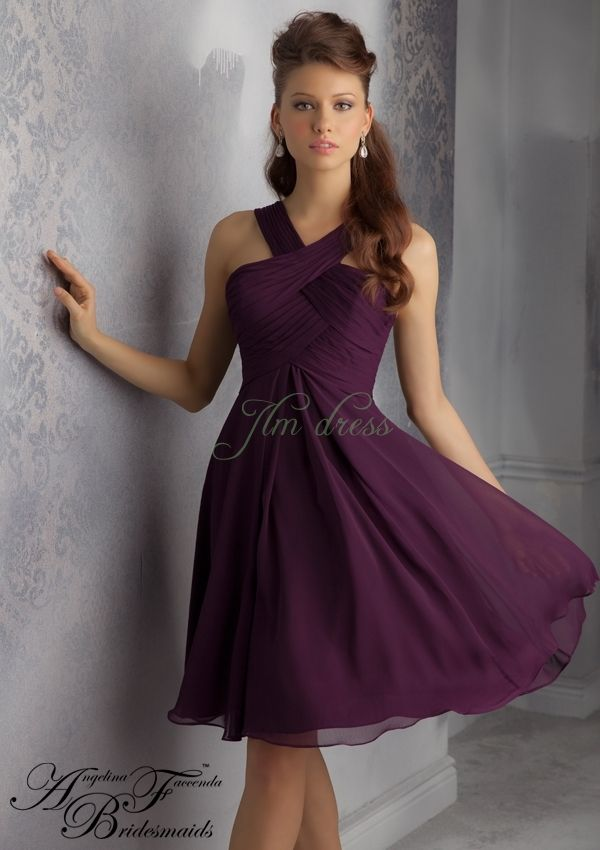 A-line Halter Empire Ruched Knee Length Chiffon Eggplant Sleeveless Prom Dress/Bridesmaid dress AF 204340
