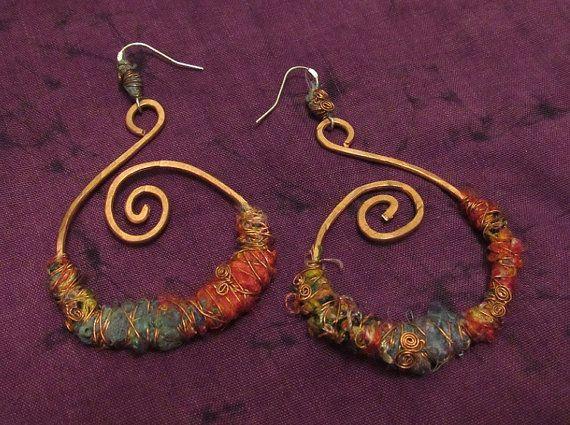 Tribal Gypsy Hoop Earrings Jewellery Recycled by tinkertailoruk