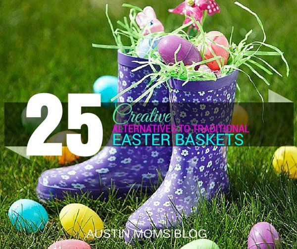 Best 25 creative easter basket ideas ideas on pinterest easter 25 alternatives to the traditional easter baskets rainboots with stuff inside pillow with new pajamas sheet set backpack school stuff beach bucket with negle Choice Image