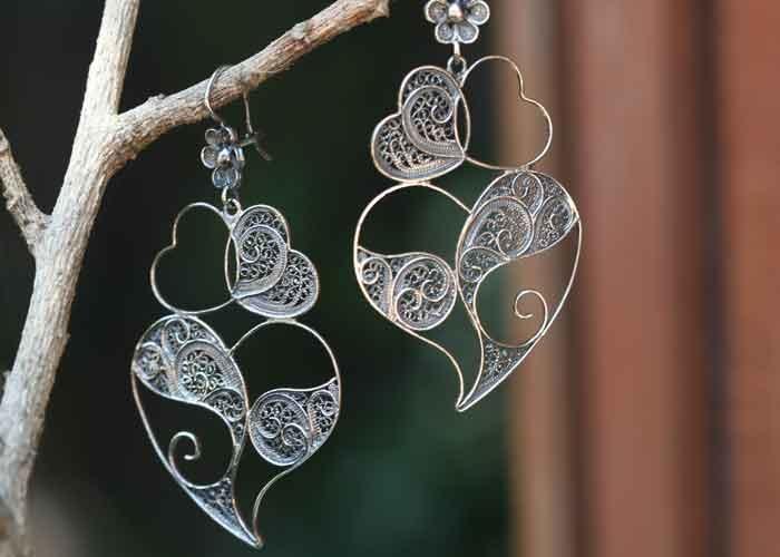 Portuguese ABERTO HEART Earrings    oxidized sterling silver