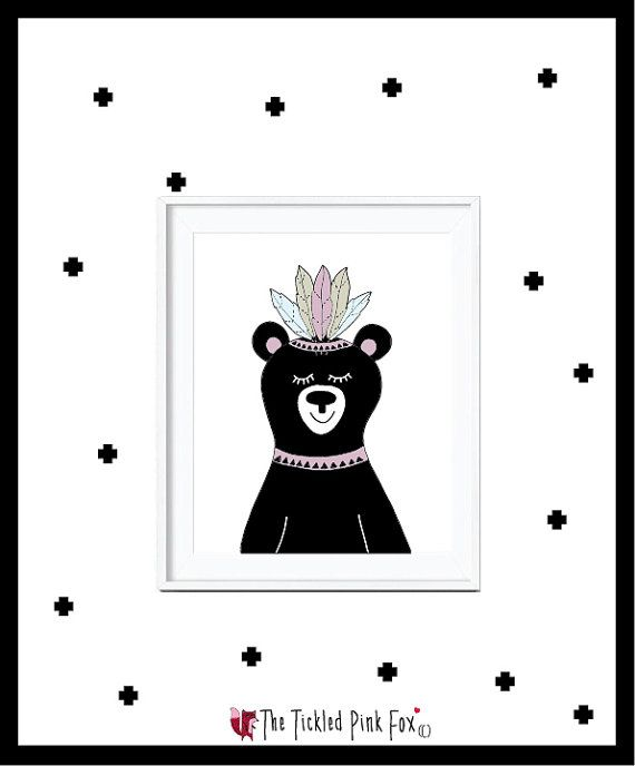 Tribal Bear with Feathers on head by thetickledpinkfox on Etsy